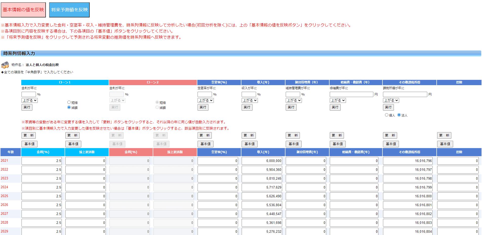 不動産投資支援ソフト アセットランクシミュレーター-時系列情報入力